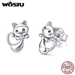 WOSTU 2019 Hot Sale 925 Sterling Silver Lovely Cute Cat Stud Earrings For Women Girl S925 Silver Brand Jewelry Gift CQE450