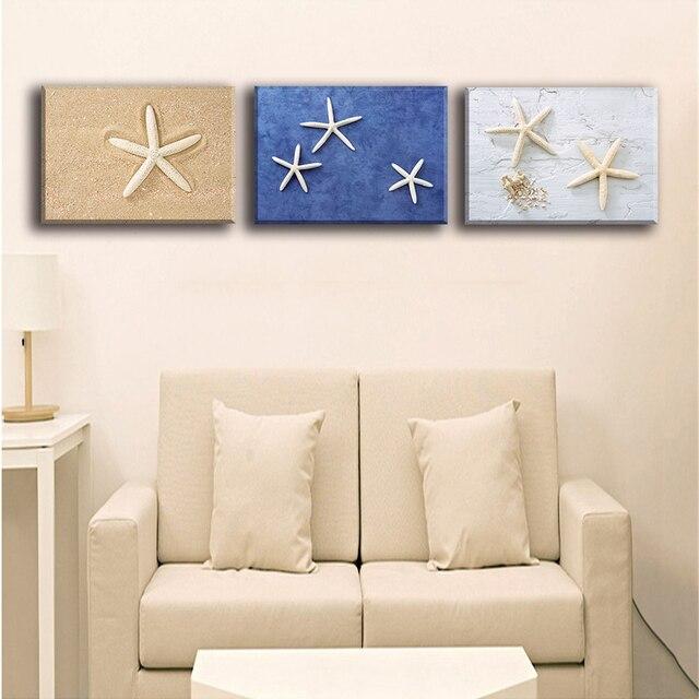Холст картины выполненные Книги по искусству пейзаж Морская звезда на пляже холст Книги по искусству украшения дома Модульная картина для Гостиная 3 панели