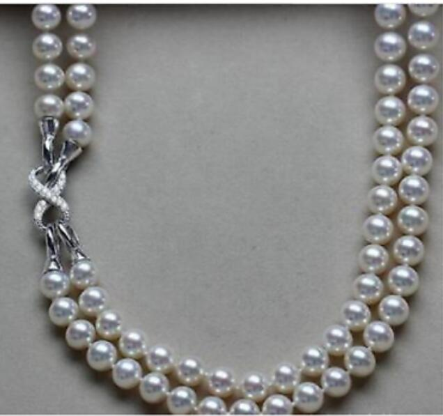 2 row 9-10mm south white pearl necklace 18-192 row 9-10mm south white pearl necklace 18-19