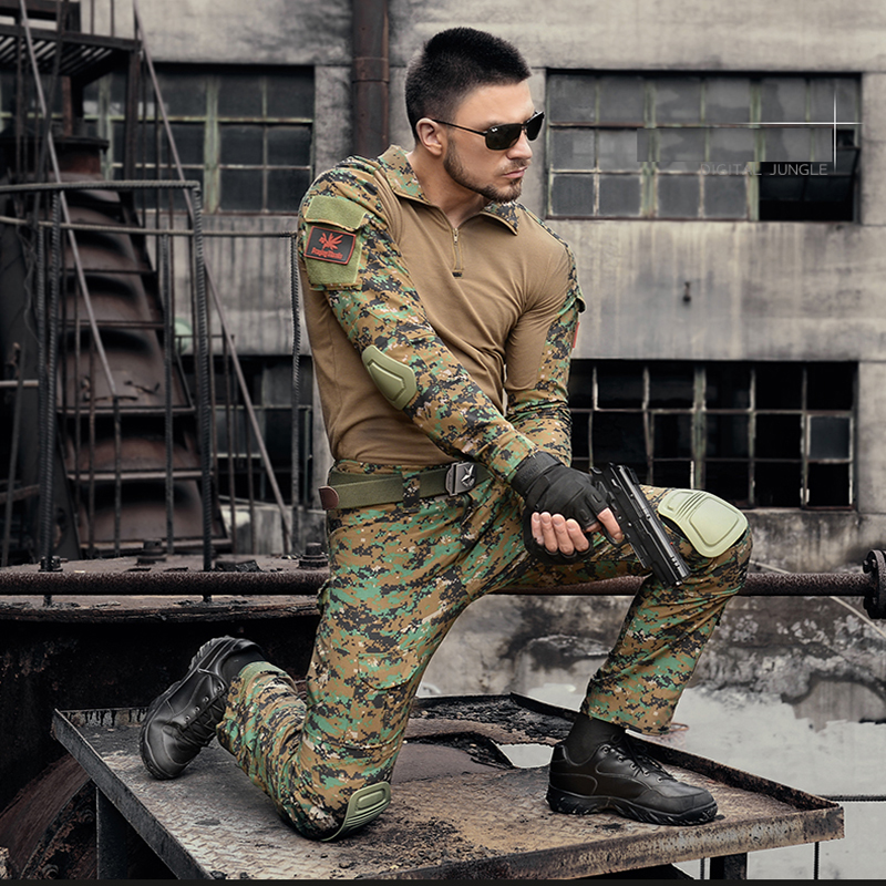 Mens Hunting Camouflage Pants Military Tactical Pants Hombre Combat Trousers Hunter Camping Climbing Hiking Pants with Knee Pads men s pants casual apparel gym clothing trousers mens outdoor hiking pants military camouflage mens pant combat tactical pants