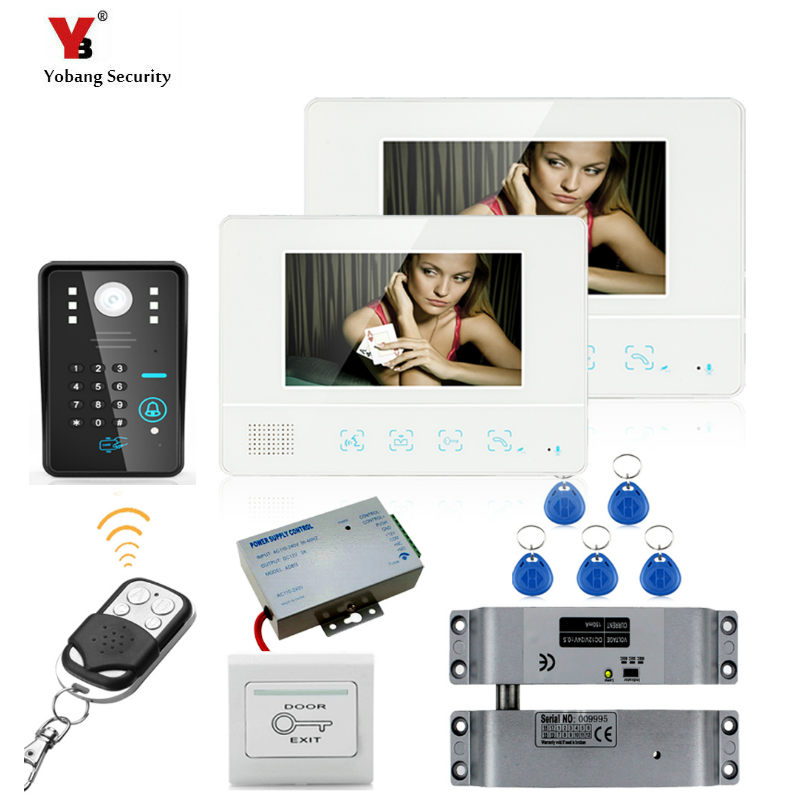 Yobang Security 7 Inch TFT Touch Screen Video Door Phone Doorbell Intercom Kit 1-camera 2-monitor Night Video Intercom yobang security 7 inch video door phone visual doorbell doorphone intercom kit with metal villa outdoor unit door camera monitor