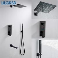 ULGKSD Black Digital Shower Set Brass Rainfall Shower Head 3 way Digital Display Mixer Tap Swivel Tub Spout Bath Shower Faucets