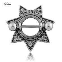 Xuben Retro Star Shape Sheriff Surgical Steel Nipple Shield Ring Body Piercing Jewelry