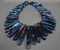 59 pcs/strand arc-en-bleu titanium ag mangé pierre lâche perles, semi précieux pierre hommes bijoux en gros fournisseur 5-10x35-50mm