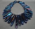 59 unids / strand Rainbow Blue titanio ágata granos flojos de piedra, piedra semipreciosa hombres joyería venta al por mayor proveedor 5-10x35-50mm