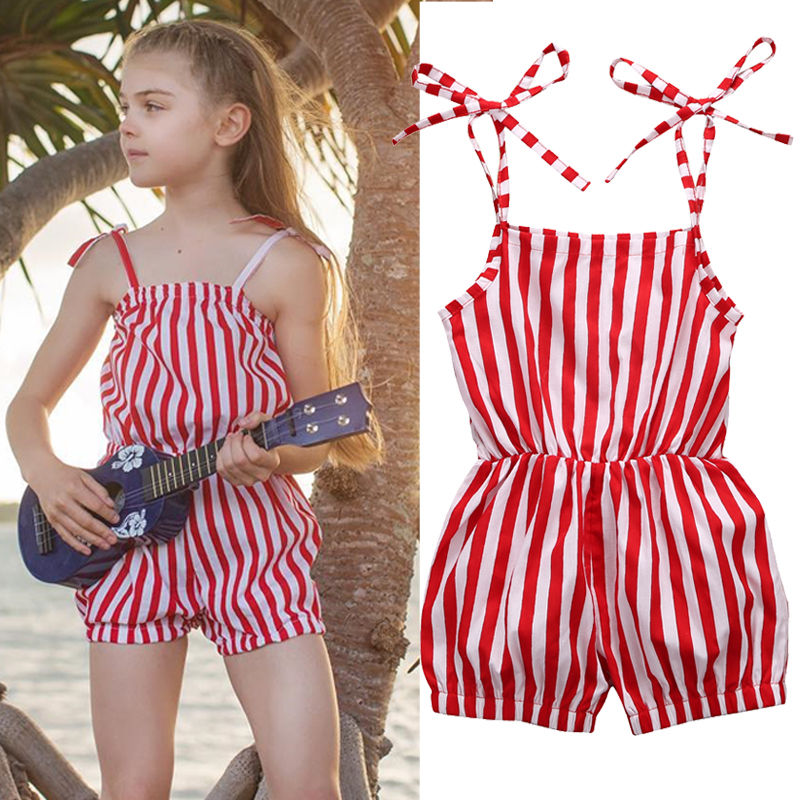 Toddler Kids Girls Sleeveless Striped Red Romper Jumpsuit Cotton One-Pieces Clothes Children Girls Outfits 2-7Y 2017 summer toddler kids girls striped baby romper off shoulder flare sleeve cotton clothes jumpsuit outfits sunsuit 0 4t
