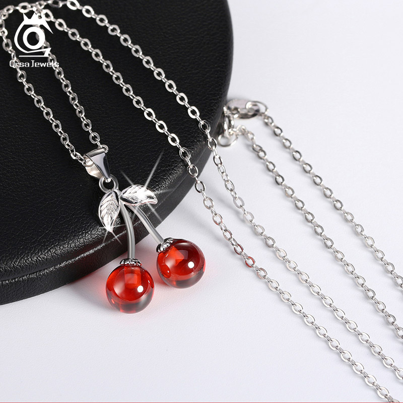 ORSA JEWELS 925 Sterling Silver Red Natural Stone Cherry Pendant Necklaces for Women Genuine Silver Jewelry ORSA JEWELS 925 Sterling Silver Red Natural Stone Cherry Pendant Necklaces for Women Genuine Silver Jewelry Necklace Gift SN03