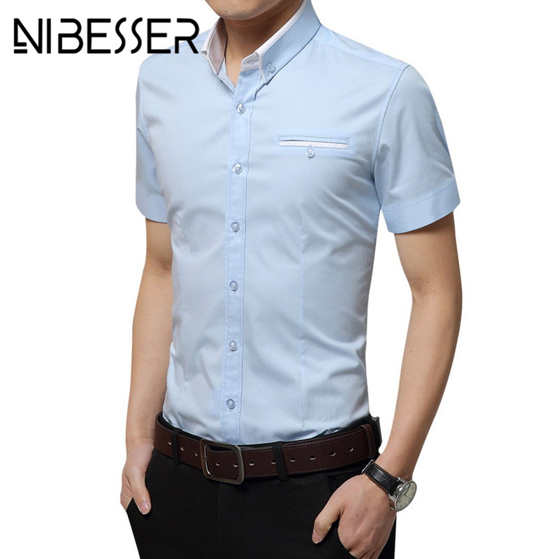 NIBESSER Male Slim Casual Dress Shirts Hot Summer Fashion Mens Short-Sleeved Shirt With  ...