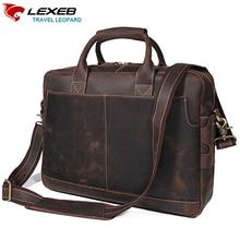 LEXEB márka Teljes Grain Bőr Férfi táska 15 hüvelyk laptop táska Crazy Horse Casual Office táskák Férfiak a mély barna