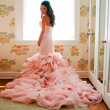 Doragrace Sweetheart Lace-Up Organza Ruffles Mermaid Wedding Gowns Pink Dresses Brial