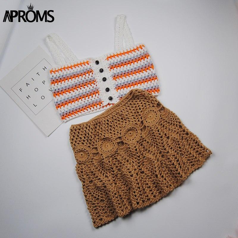Aproms Candy Color Handmade Cotton Knitted Crochet Mini Skirts Women Summer Hollow Out High Waist Beach Skirt White Bottoms 2019