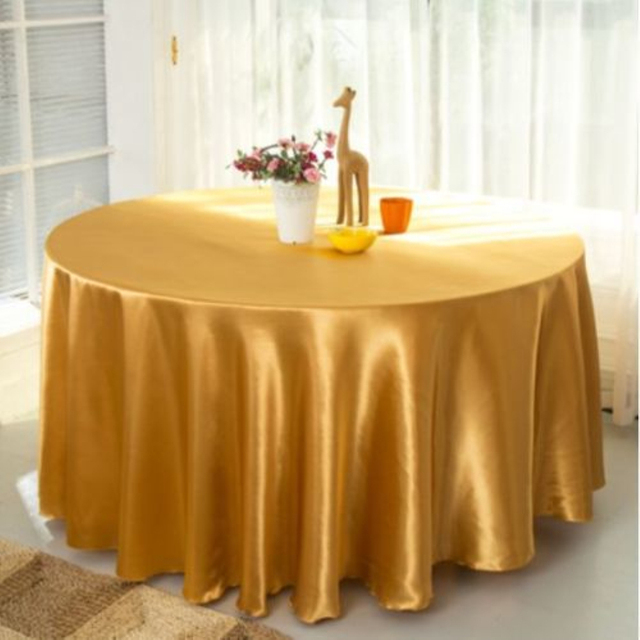 5pcs/Pack Gold Color 120 Inch Round Satin Tablecloths Table Cover For  Wedding Party Restaurant