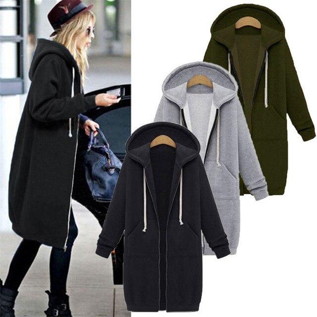 Autumn Winter Coat Women 2019 Fashion Casual Long Zipper Hooded Jacket Hoodie Sweatshirt Vintage Outwear Coat Plus Size