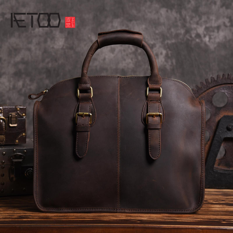 AETOO Original design crazy horse leather shoulder bag handbag head leather leather retro European men briefcase