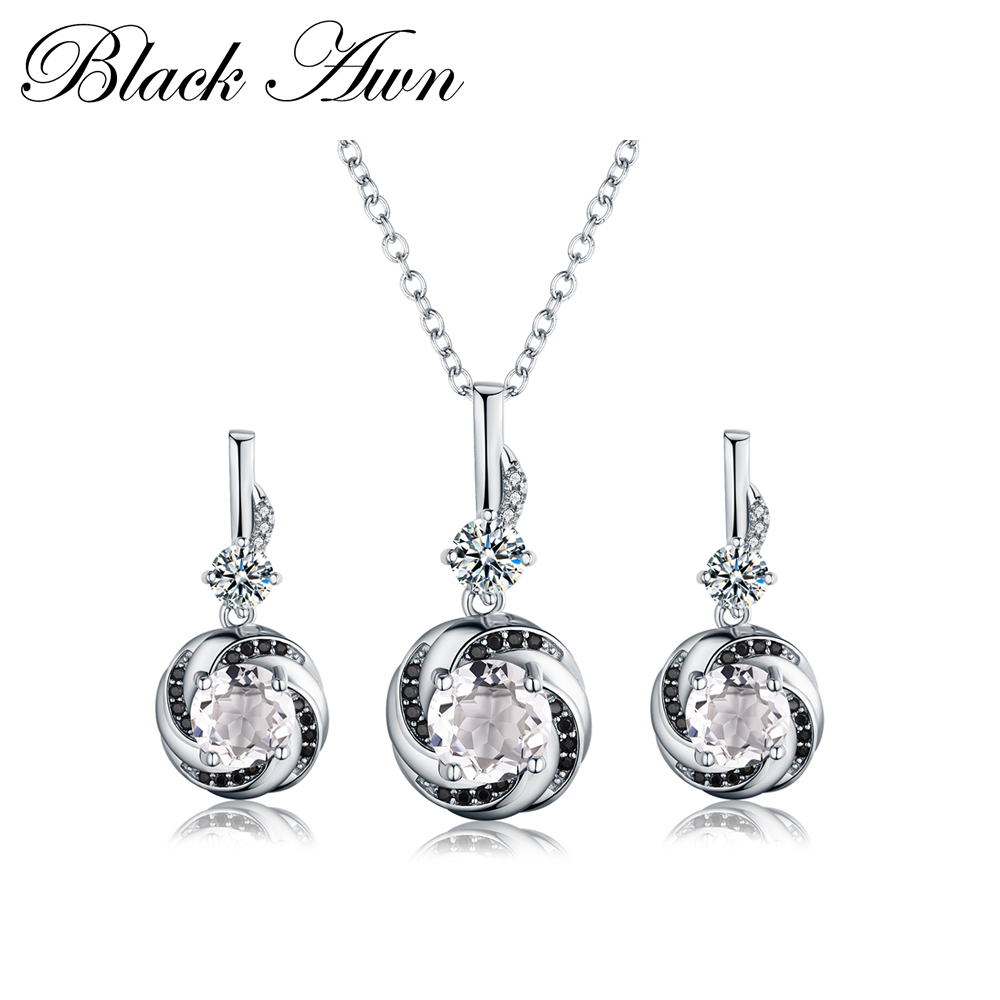925 Sterling Silver Fine Jewelry Sets Trendy Engagement Wedding Necklace+Earring for Women PT159 [black awn] 925 sterling silver fine jewelry set trendy engagement wedding necklace earring for women pt161