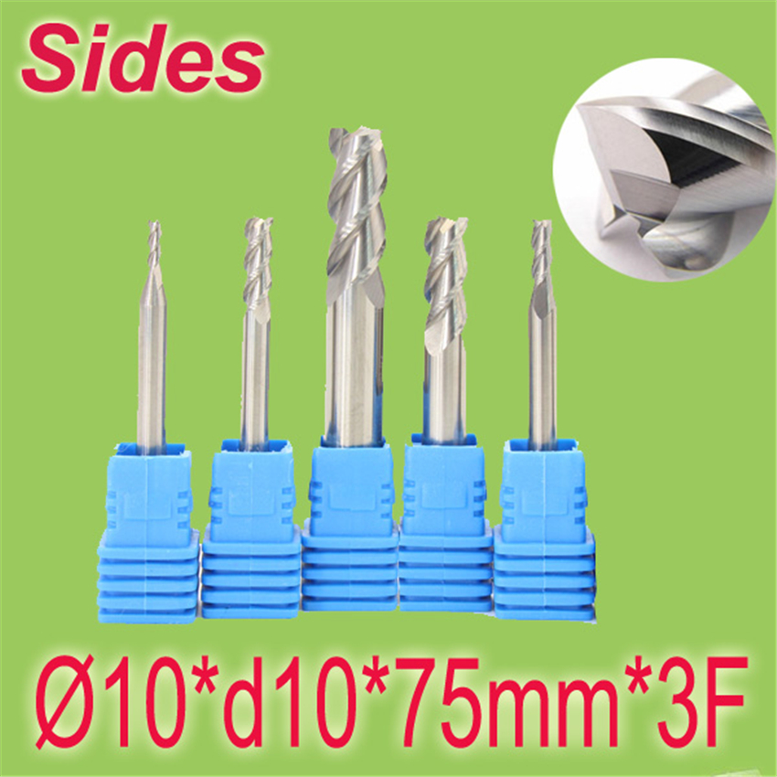 Free Shipping  10*d10*75mm*3F 10mm Aluminum 3F Square Flat Spiral Flute Endmill Cutter Working on CNC Milling Machine  цены
