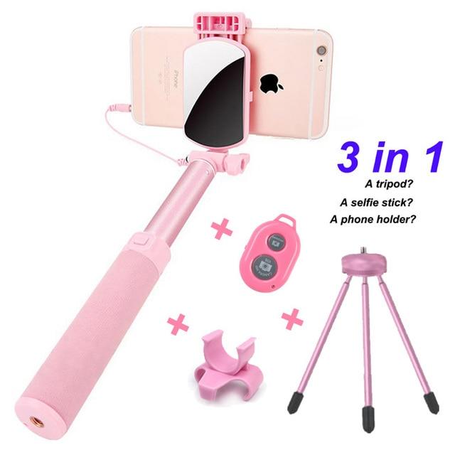 3 in 1 Extendable Selfie Stick Bluetooth Desk Phone Holder Palo Selfie Stick Tripod for Xiaomi for Huawei Smartphones Monopod