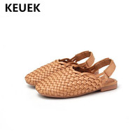 New Children Sandals Girls Shoes Baby Toddler PU Leather Baotou Beach Shoes Kids Princess Summer Student Woven shoes 03