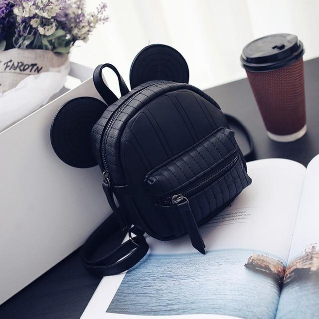 0eda258fe5d3 Mickey Backpack Sweet Fashion wild Women Backpack Bag PU Leather Mickey  girl Cartoon Big Ears Small Mini Travel Shouder Bag