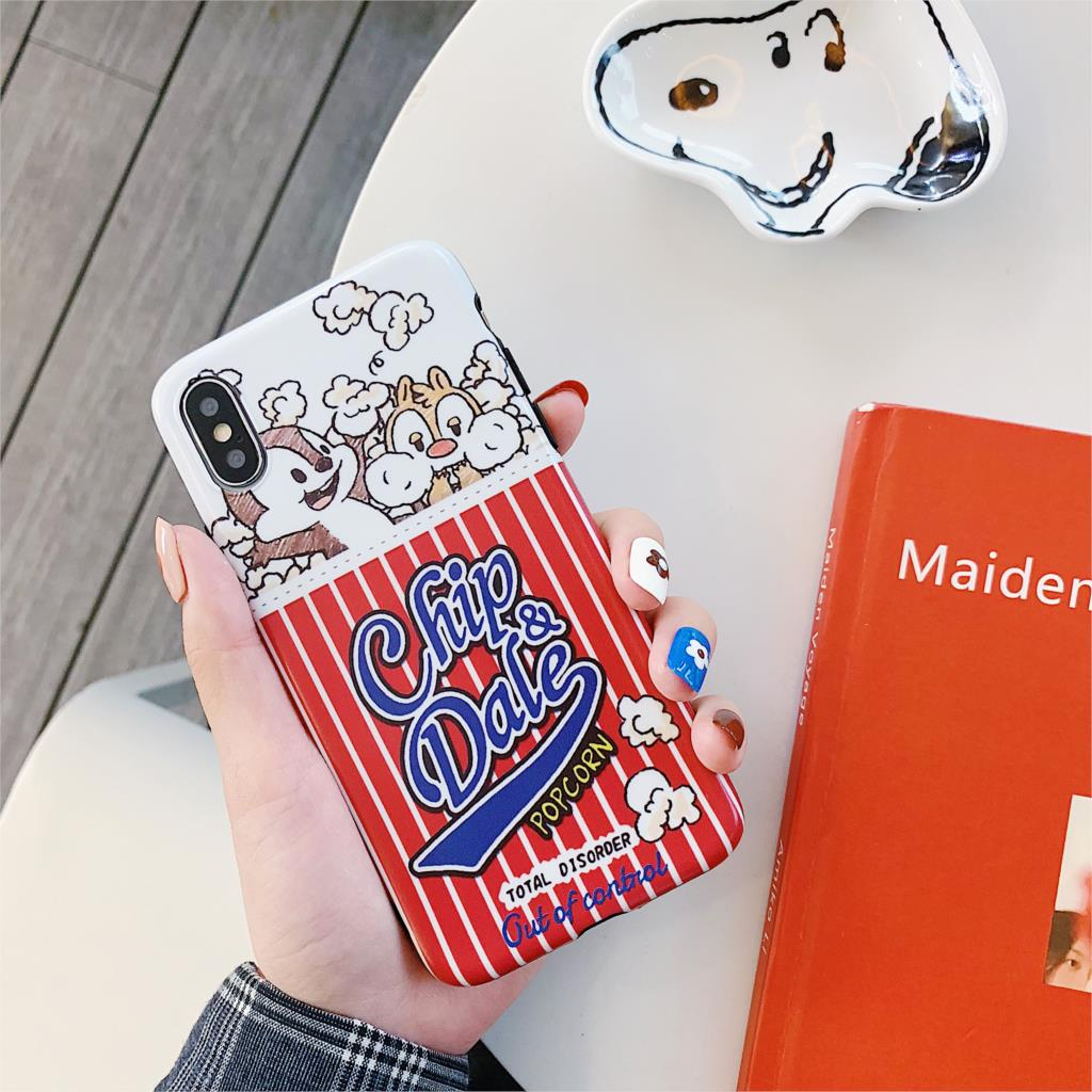 French Fries Chip Dale Cartoon Funda For Iphone 7 Case Popcorn Aliens IMD Phone Case For Iphone X XR XS Max 6 6S 7 8 Plus Cover