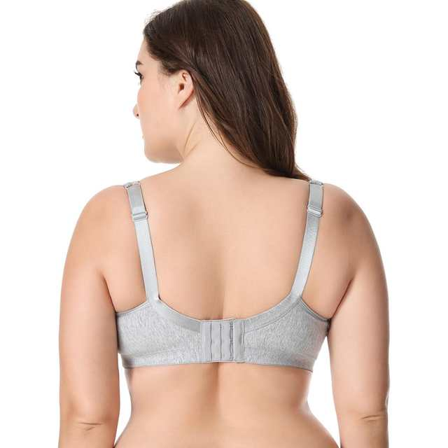 7b0cb6eb98 placeholder New Lace Trim Full Coverage Cotton Wirefree Bra Plus Size 36-48  B C D DD E