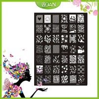 10PCs New Design BQAN Stainless Steel Crown/Flower Series/Diamond Images Nail Plate Stamping XY20