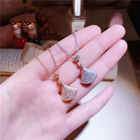 New sweet S925 sterling silver micro studded fan shaped skirt skirt necklace fashion wild clavicle chain women XL016