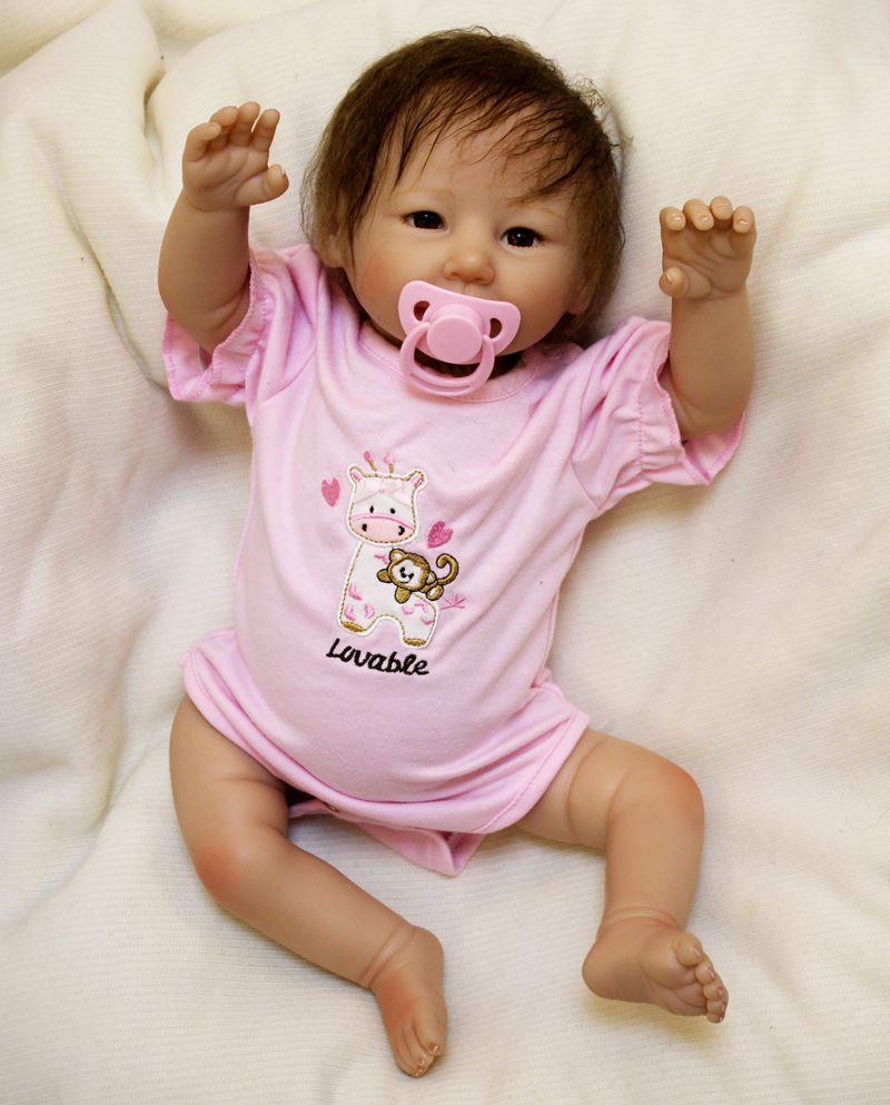 Fille bebe réaliste nouveau-né 50 cm fait à la main réaliste nouveau-né bébé poupée Reborn doux Silicone vinyle cheveux enraciné cadeau pour fille