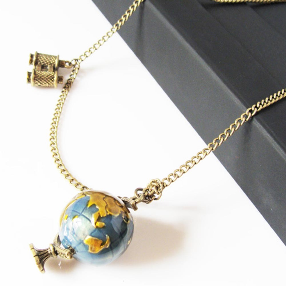 Globe Telescope Shaped Pendant Casual Necklace Best Special Sweater Chain 2017 Grateful New