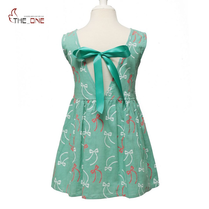 MUABABY 2-7T Girl Dress Baby Kids Summer Flower Cherry Backless Sundress Girl Cotton Sleeveless Princess Beach Abiti casual
