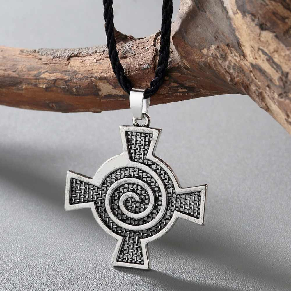 CHENGXUN Antik Pria Pesona Kalung Odin Simbol Celtic Norse Viking Pendant Wanita Spiral Whirlpool Lintas Liontin Jimat Kalung