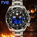 TVG Watches Men Dual display Clock Stainless Steel Band Sport waterproof Watch Relogio Masculino Quartz Wristwatches 2PCS/lot