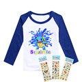 2016 camisas de t para crianças roupas meninos Treecko Pokemon ir e Squirtle Monstro de Bolso meninos roupas de mangas compridas t-shirt de algodão