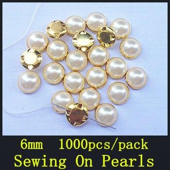Acrylique Strass 6mm 1000 pcs Or Base À Coudre sur Perles En Griffe Ivoire Blanc Pour Vêtement, BRICOLAGE, vêtements décoration