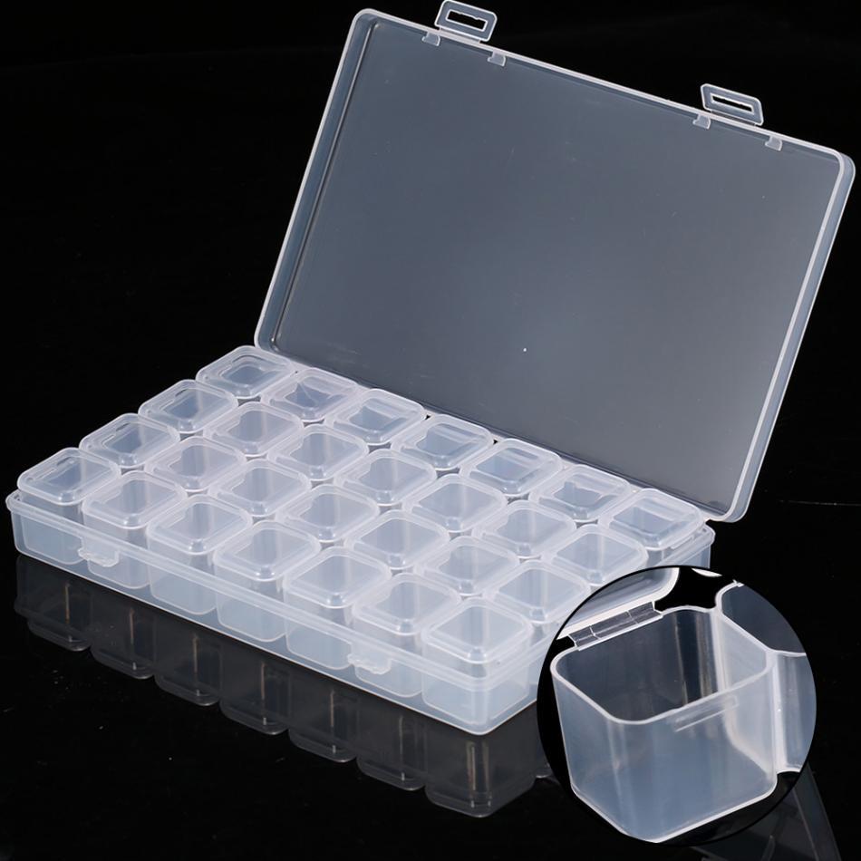 28 Grids Plastic Transparent Nail Tools Storage Box Powder Paillette Rhinestone Container Organizer Box Nail Art Accessories Box