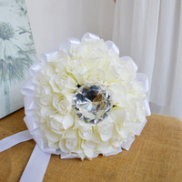 Handmade Wedding Bouquets Floral Bridal Bridemaids Bouquet Artificial Rose Flower With Artificial crystal diamond Holding Flower