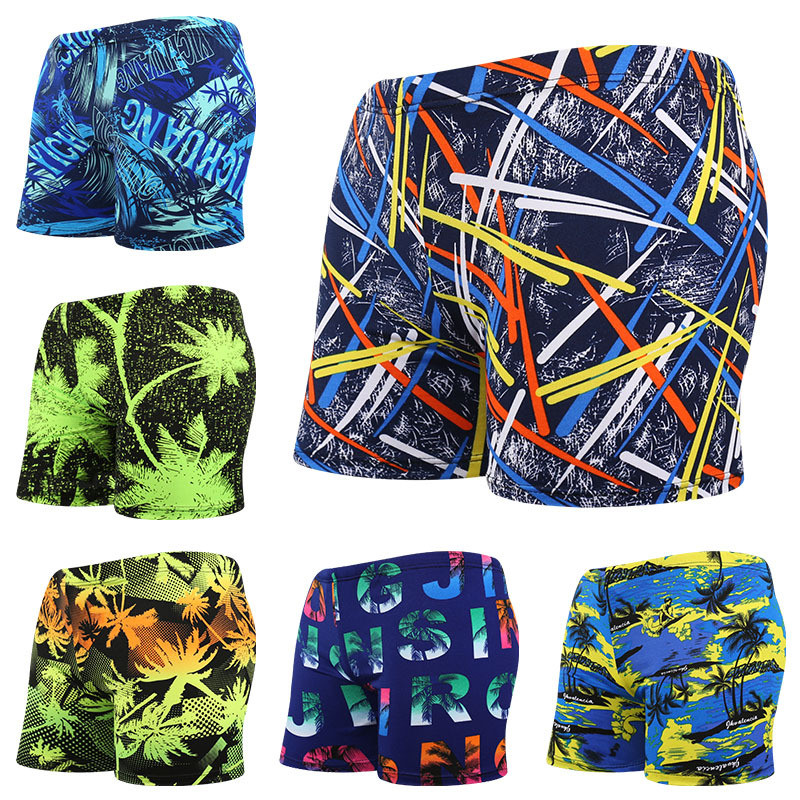 Quick dry Men Fashion Swimming Trunks Boxer Floral Printed Swimwear Sexy Beach Shorts Low waist Briefs