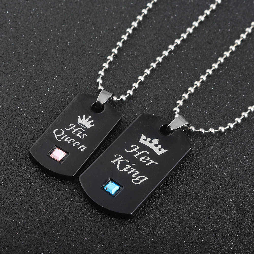 42eaa9ce05 Detail Feedback Questions about Her King & His Queen Couple Necklaces  lovers pendant fashion crystal jewelry for women and men gifts on  Aliexpress.com ...