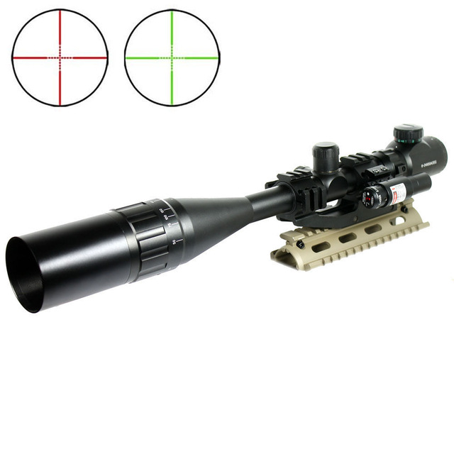 6-24X50 Tactical Rifle Scope R/G Mil-dot w/ PEPR Mount + Sunshade + Laser Sight Combo Airsoft Weapon rifleair guns hunting red dot sight tactical 3 9x40dual illuminated mil dot rifle scope with green laser sight combo airsoft weapon sight