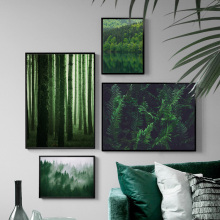 Green Fresh Fern Leaves Forest Lake Wall Art Canvas Painting Nordic Posters And Prints Wall Pictures For Living Room Home Decor fern fanny fresh leaves