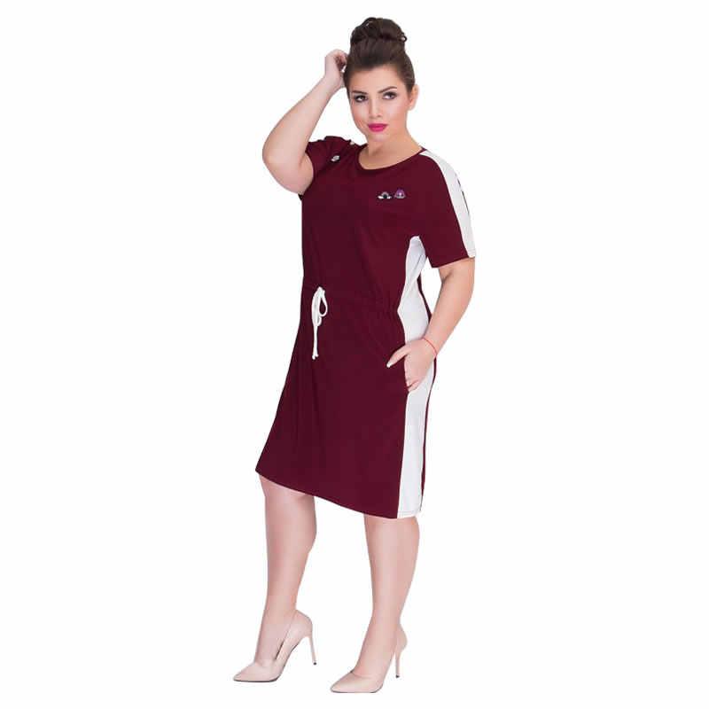 2019 yaz elbisesi Artı Boyutu Kadın Giyim Kısa Kollu Düz rahat elbise Büyük Kadın Elbise 5XL 6XL Büyük Elbise Vestidos