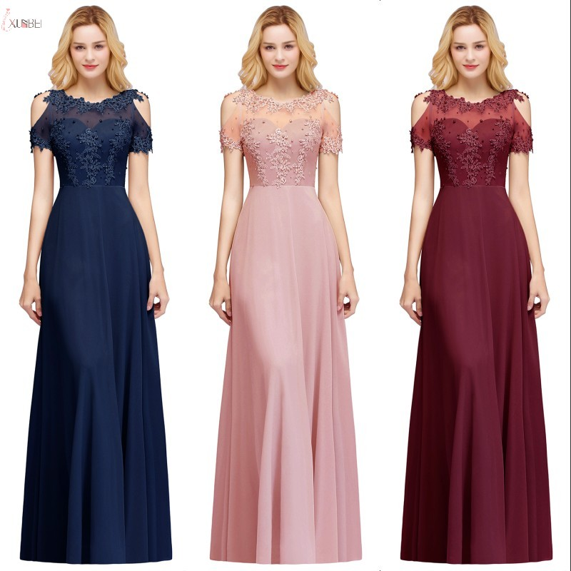 2019 Elegant Chiffon Long   Bridesmaid     Dresses   Applique Pearl Wedding Guest Party   Dress   robe demoiselle d'honneur vestido madrinha