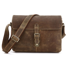 High Quality 100% Guaranteed Genuine Leather Bag Men Crazy Horse Leather Messenger Bags Shoulder Bags Men Travel Bags #VP-J7084