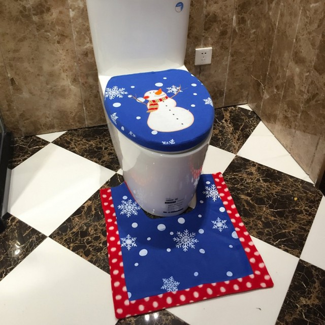 Hot Seal Christmas Toilet Set Christmas Fancy Toilet Seat Cover Rug Bathroom  Set Blue Snowman Festival