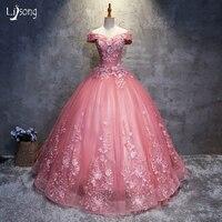 Настоящая фотография наличии Розовый Аппликации с вышивкой высокое качество Вечернее Бальное платье, vestidos Longo Выпускной выпускников Плать