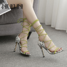 Sexy bandage Snake Pattern Women Sandals 2019 Summer New Arrival Roman Shoes Super High Heels Color Matching Hollow Women Shoes mature temptation mysterious sexy fashion ultra high documentary shoes black roman style hollow out super high heels