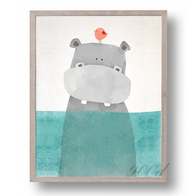 Cartoon Cute Hippo Canvas Art Print Painting Poster, Wall Picture ...