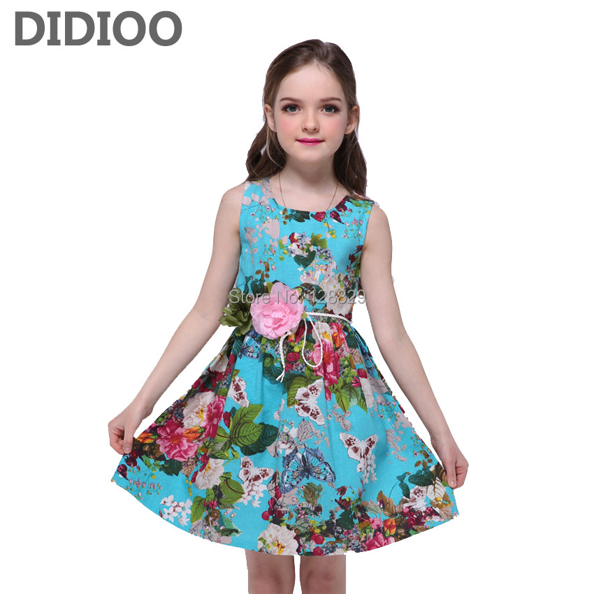 Kids Dresses For Girls Sundress Sleeveless Floral Print Girls Dresses Summer Princess Party Dress With Belt 4 6 8 10 12 14 Years stylish jewel neck sleeveless print spliced women s sundress