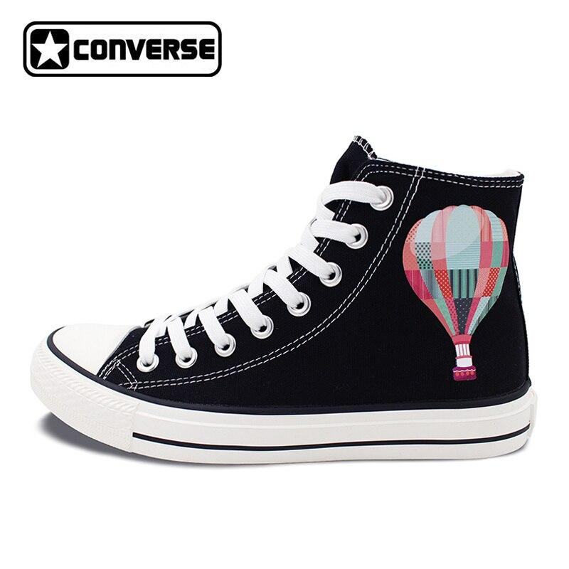 7575cbaa550 Hommes Femmes Converse All Star Noir Haute Top Chaussures Hot Air Ballon  Ciel High Top Toile Sneakers Conception Cadeaux Présente