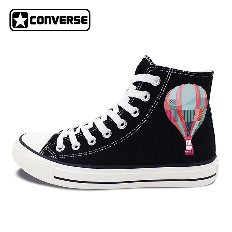 Men Women Converse All Star Black High Top Shoes Hot Air Balloon Sky High Top Canvas Sneakers Design Gifts Presents men women s converse all star shoes high top lace up flats design five food recipes on white canvas sneakers gifts